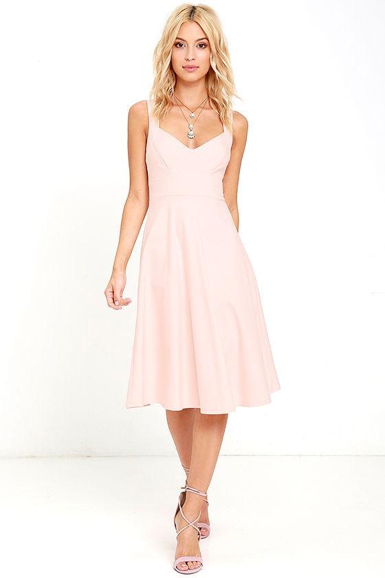 48cd4d633a1 Chic Blush Pink Dress - Midi Dress - Fit and Flare Dress -  59.00