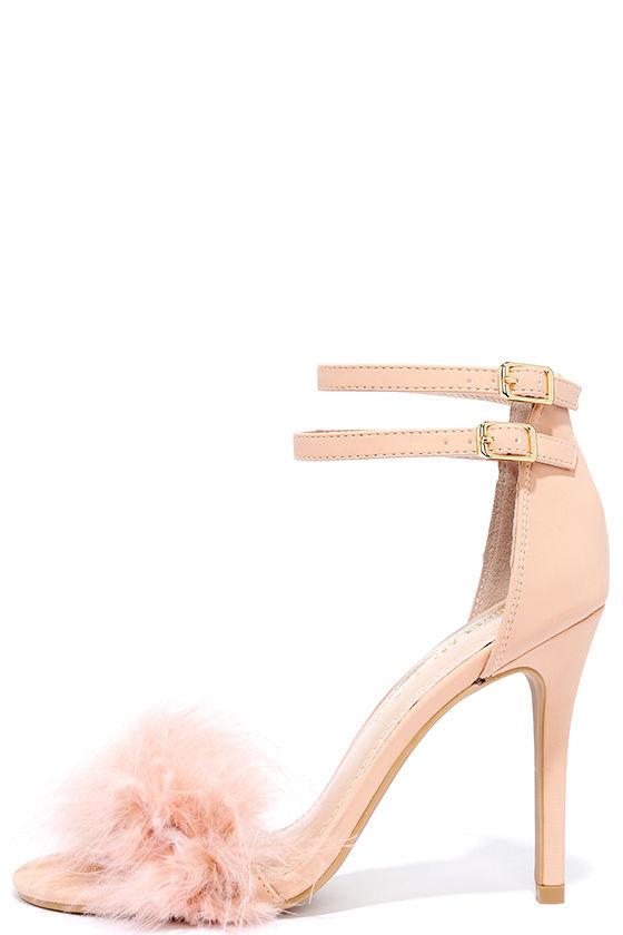 Feather Heels - Pink Heels - Ankle Strap Heels - $36.00