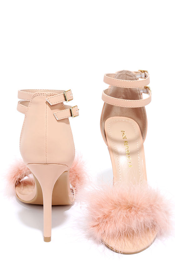 8a78b929057 Feather Heels - Pink Heels - Ankle Strap Heels -  36.00