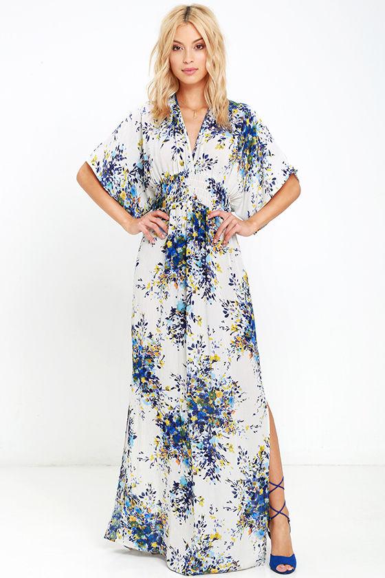 870a9cfeb6 Lovely Cream Dress - Floral Print Dress - Maxi Dress - $79.00