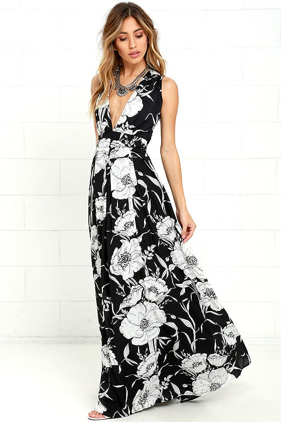 Lovely Black Floral Print Dress Maxi Dress Black And White Dress