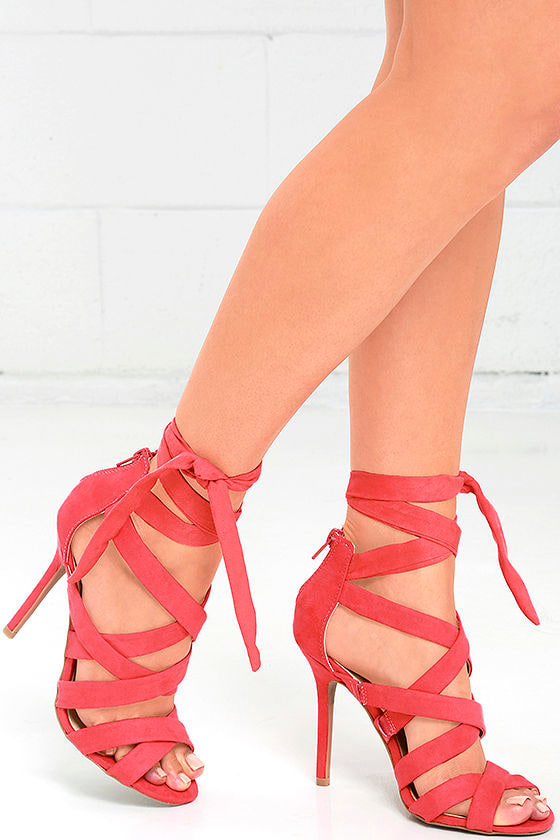 utterly stylish various styles recognized brands Everybody Can-Can Hot Coral Suede Caged Heels