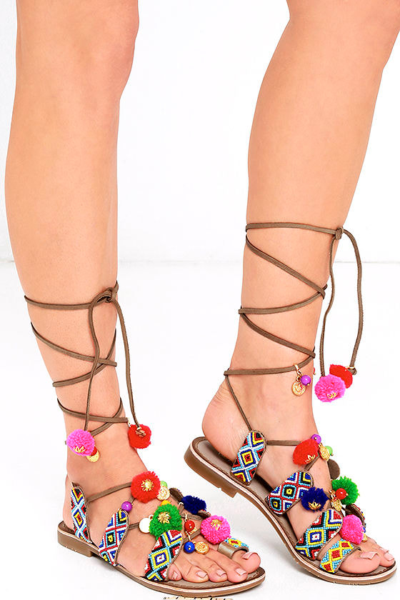 7eb586e29b1682 Chinese Laundry Posh - Cognac Sandals - Beaded Sandals - Lace-Up ...