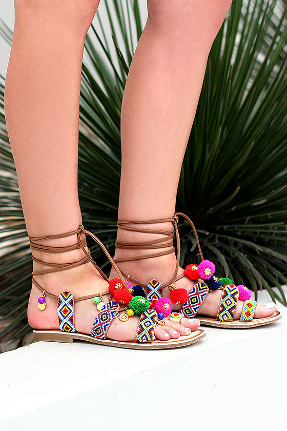 5efd6037c Chinese Laundry Posh - Cognac Sandals - Beaded Sandals - Lace-Up Sandals -   80.00