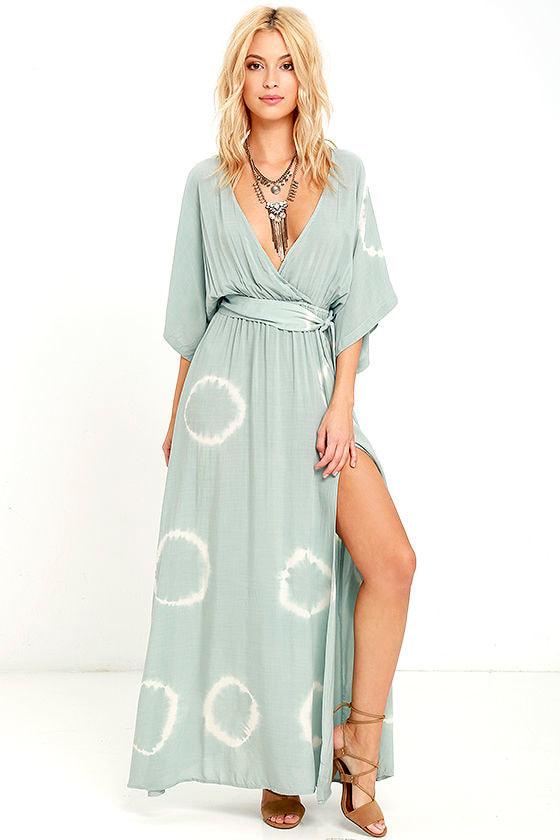 Boho Sage Green Dress - Tie-Dye Dress - Maxi Dress - Wrap Dress ...