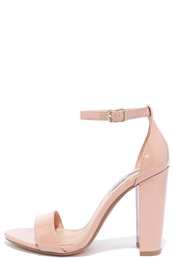 Cute Blush Heels - Patent Heels - Ankle Strap Heels - $89.00