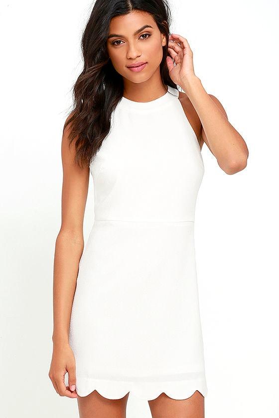 119296f469c5b Cute Ivory Dress - Scalloped Dress - Sheath Dress - White Dress - $52.00