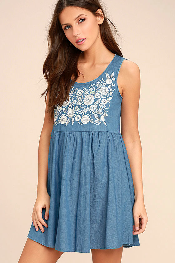Mary Jane Embroidered Blue Chambray Dress 1