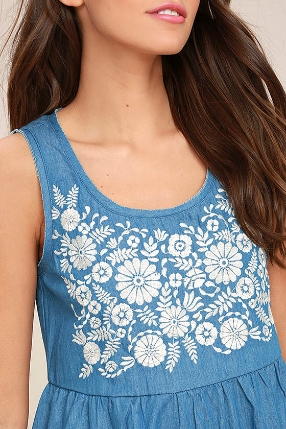 Mary Jane Embroidered Blue Chambray Dress 5