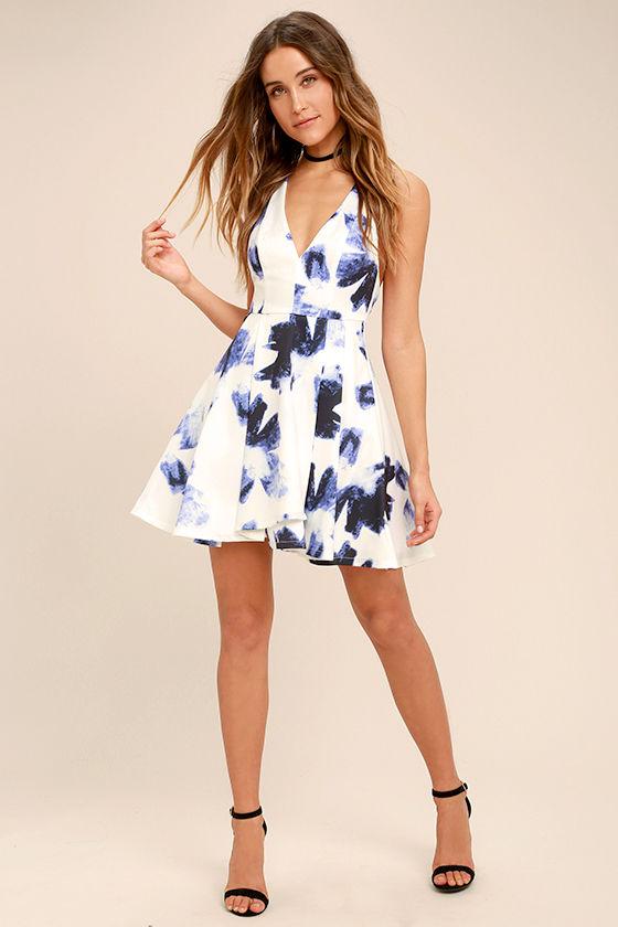 Cute Blue and Ivory Dress - Print Dress - Skater Dress - $58.00