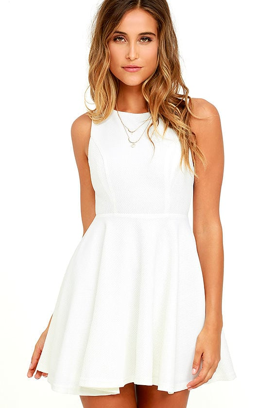 Gal About Town White Skater Dress 3