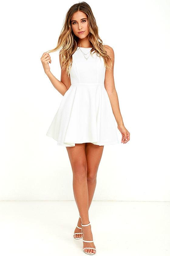Cute White Skater Dress - White Homecoming Dress