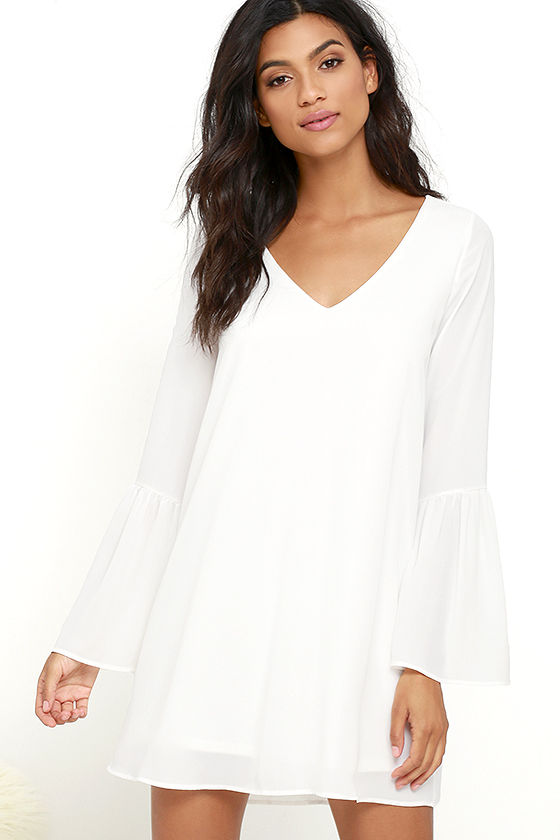 Far Wanderings Ivory Long Sleeve Shift Dress 1