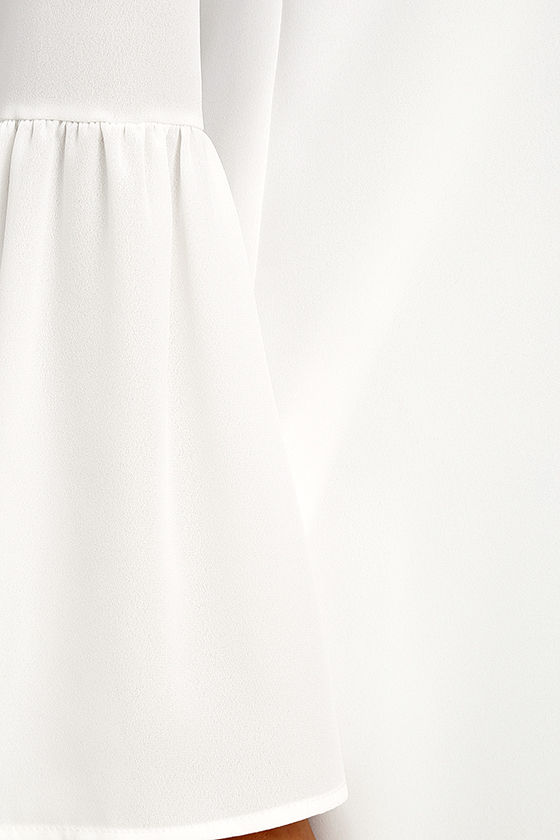 Far Wanderings Ivory Long Sleeve Shift Dress 6