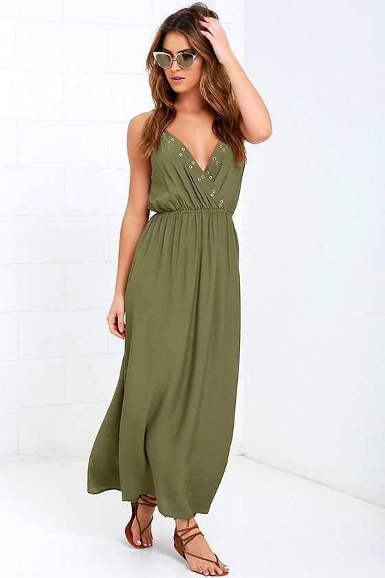 cute olive green dress  maxi dress  sundress  5900