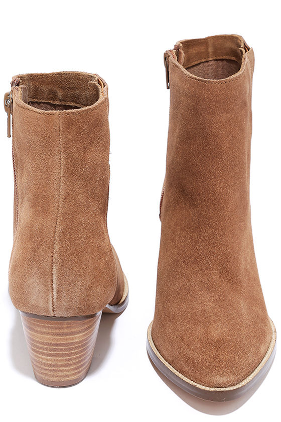 Coconuts Camilia Tan Suede Leather Pointed Booties 2