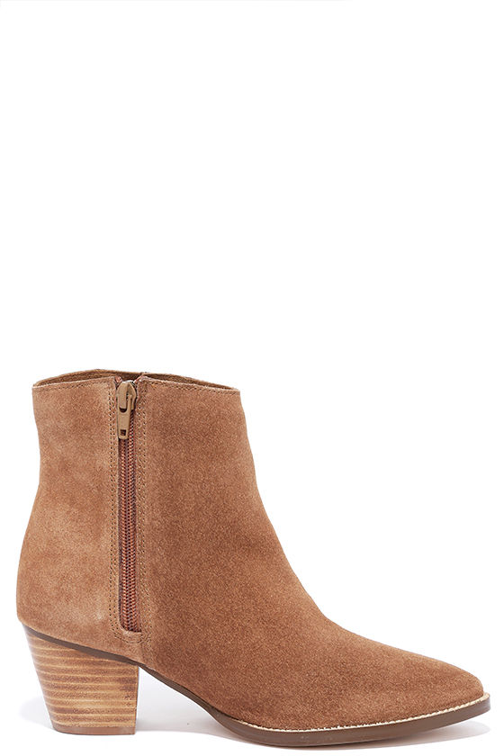 Coconuts Camilia Tan Suede Leather Pointed Booties 3