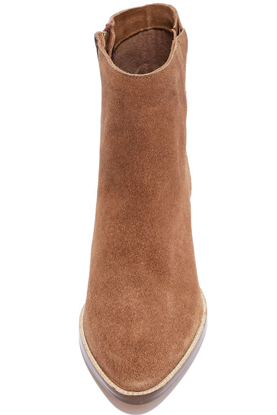 Coconuts Camilia Tan Suede Leather Pointed Booties 4