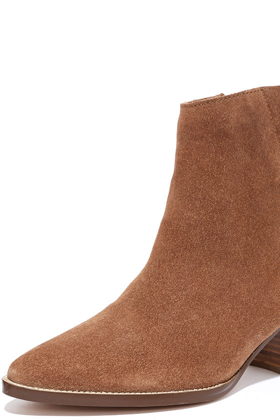 Coconuts Camilia Tan Suede Leather Pointed Booties 5