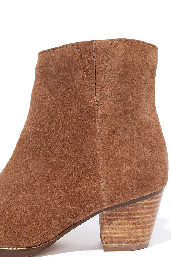 Coconuts Camilia Tan Suede Leather Pointed Booties 6