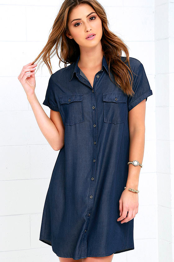 371961528 Cute Dark Blue Dress - Chambray Dress - Shirt Dress - $55.00