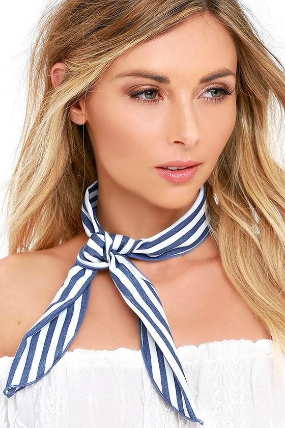 Sailing at Sunrise Blue and White Striped Bandana 9cf9ed85714