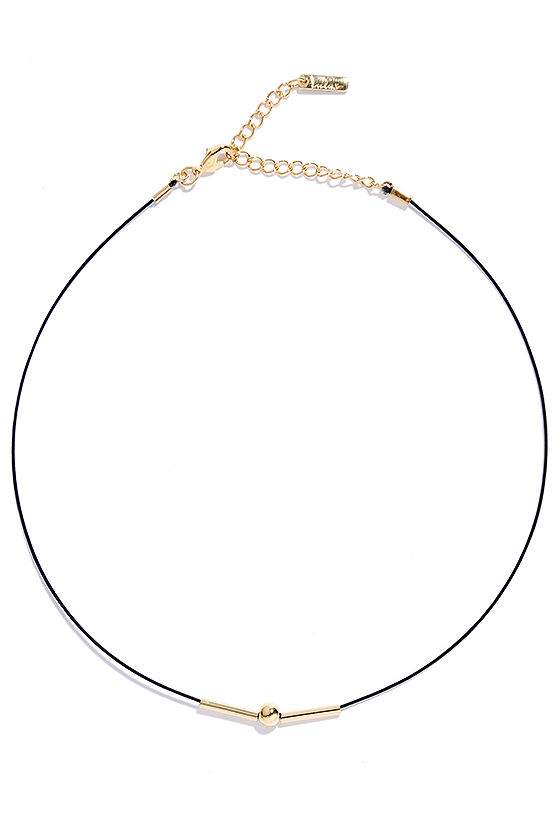 Dream Big Black and Gold Choker Necklace 2