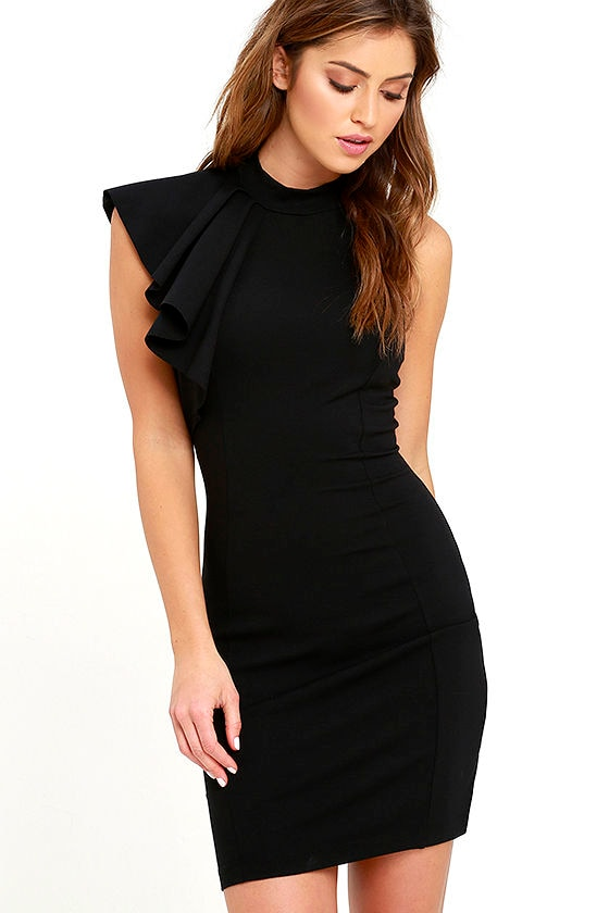 Chic Black Dress - LBD - Ruffle Dress - Bodycon Dress - $56.00