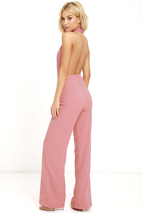 Sexy Blush Pink Jumpsuit - Halter Jumpsuit - Lace Jumpsuit - $54.00
