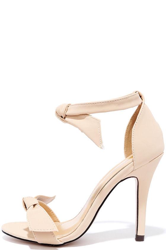 84b1a517e2d Cute Nude Heels - Ankle Strap Heels - Bow Heels -  32.00