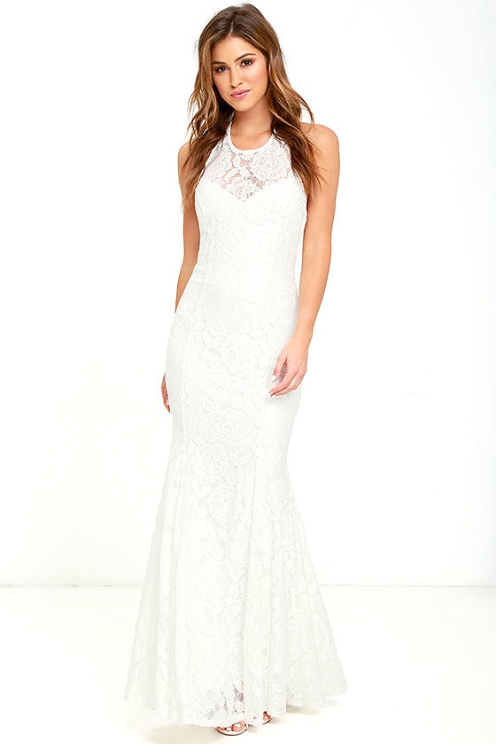 Lovely Ivory Dress - Ivory Lace Maxi Dress - Homecoming