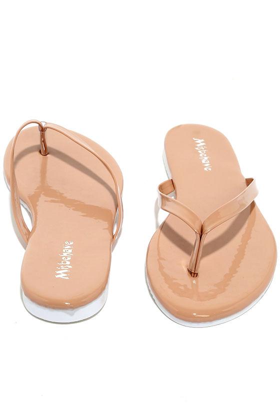 8b8f1e972464 Cute Nude Flip Flops - Patent Flip Flops - Thong Sandals -  13.00