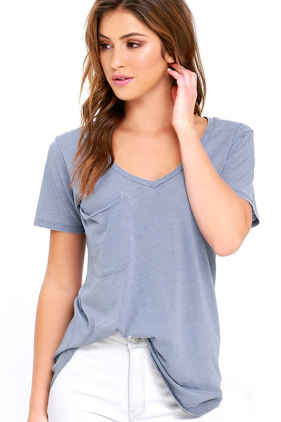 Z Supply Pleasant Surprise Periwinkle Blue Tee 1