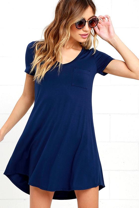 Navy Blue Dress Shift Dress Shirt Dress 33 00