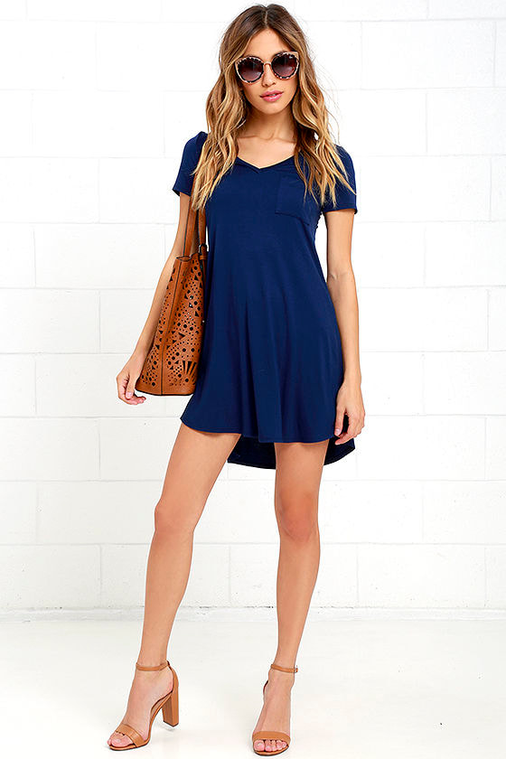Navy Blue Dress - Shift Dress - Shirt Dress - $33.00