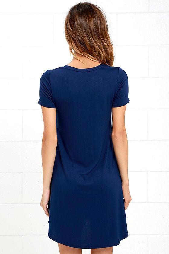 Navy Blue Dress - Shift Dress - Shirt Dress - $33.00