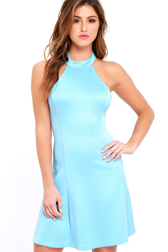 Cute Light Blue Dress Fit And Flare Dress Sleeveless