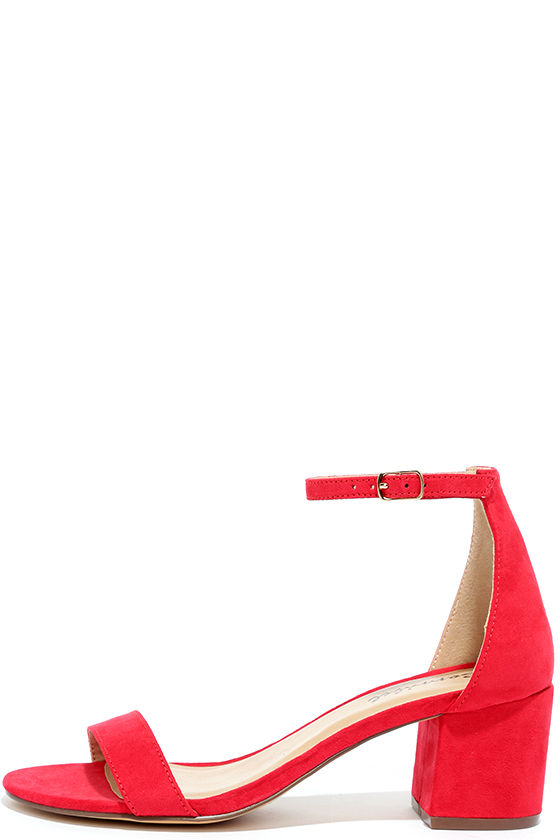 BABE SQUAD RED SUEDE HEELED SANDALS Image