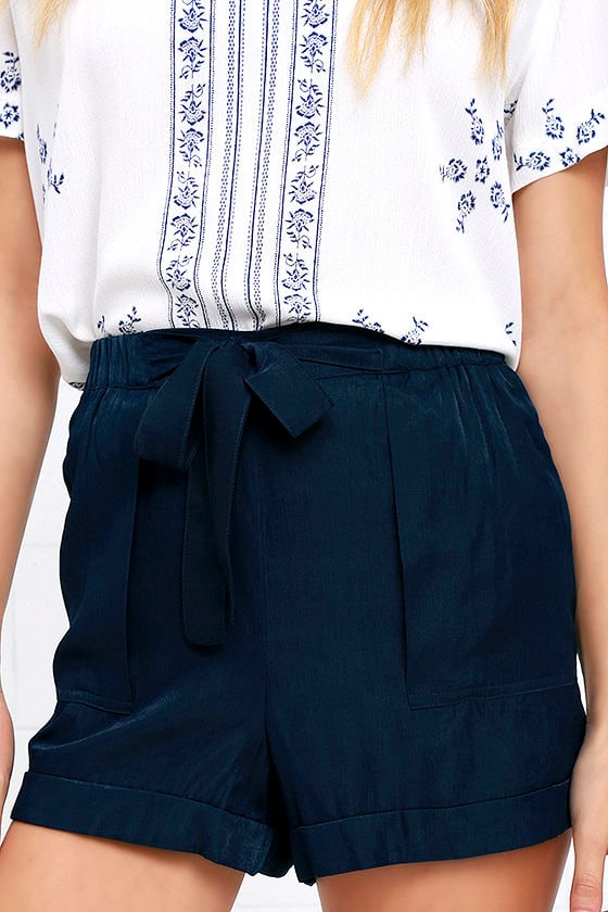 Cute Navy Blue Shorts - High-Waisted Shorts - Tie-Front Shorts ...
