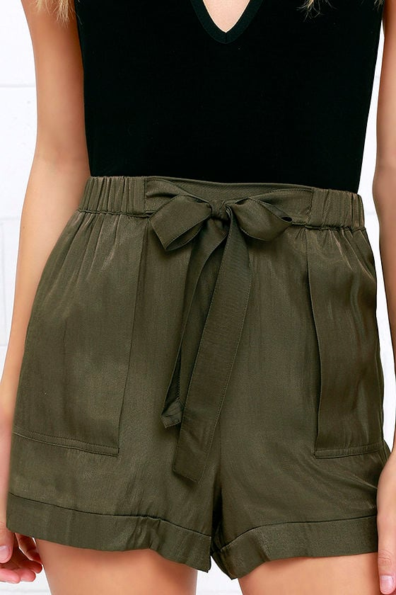 Cute Olive Green Shorts - High-Waisted Shorts - Tie-Front Shorts ...