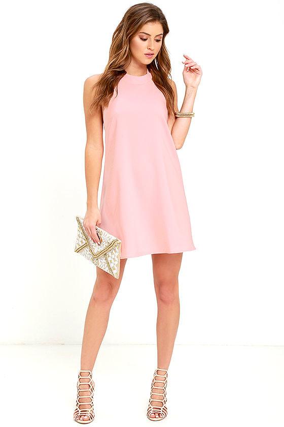Blush Pink Dress - Backless Dress - Swing Dress - $54.00