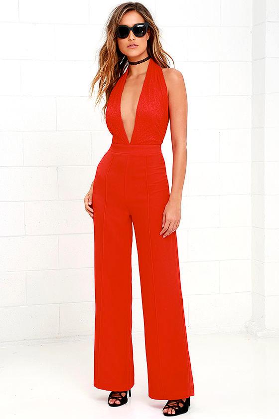 Sexy Red Jumpsuit - Halter Jumpsuit - Lace Jumpsuit - $54.00