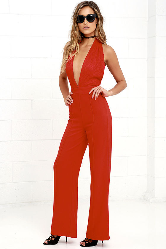 61953792e78 Sexy Red Jumpsuit - Halter Jumpsuit - Lace Jumpsuit -  54.00