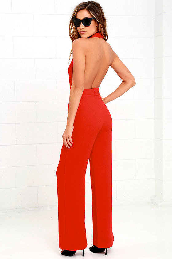 Sexy Red Jumpsuit - Halter Jumpsuit - Lace Jumpsuit - $54.00