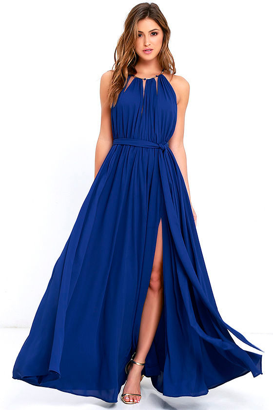 Lovely Royal Blue Maxi Dress Blue Gown Halter Maxi