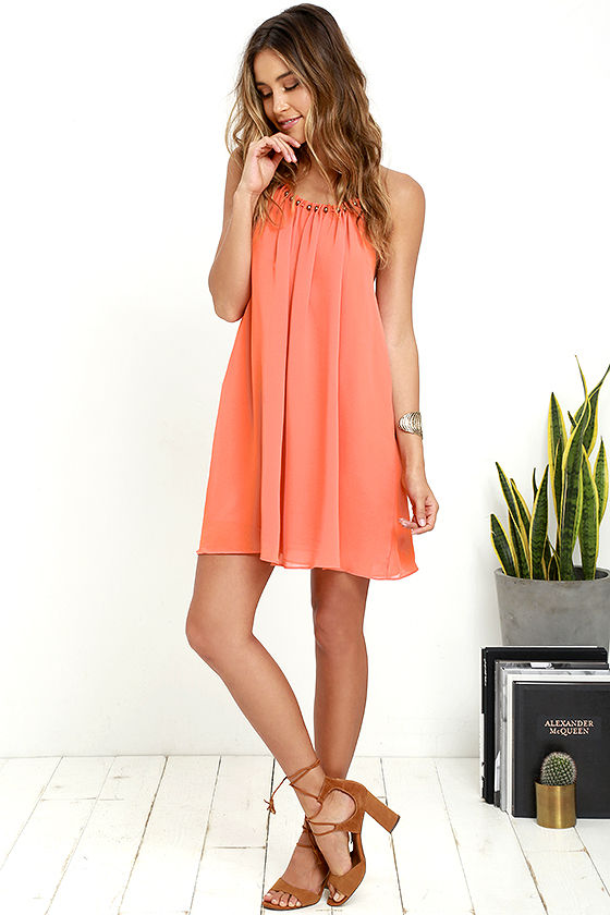 Cute Orange Dress - Halter Dress - Short Dress - $89.00