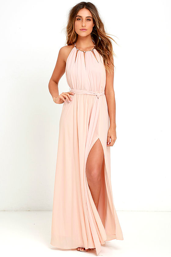 Lovely Blush Pink Maxi Dress Pink Gown Halter Maxi