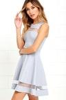 Cute Blue Grey Skater Dress - Homecoming Dress -  54.00 444052a11