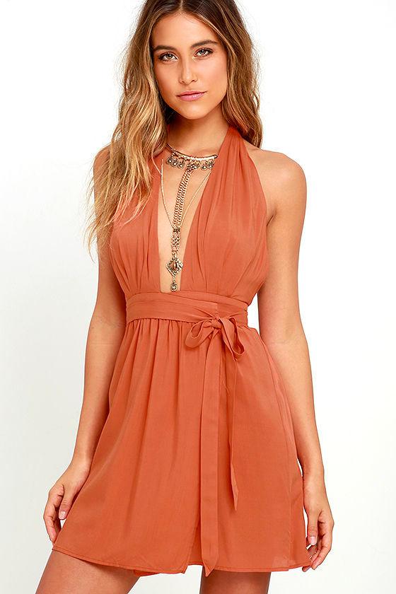 Cute Burnt Orange Dress - Wrap Dress - Halter Dress