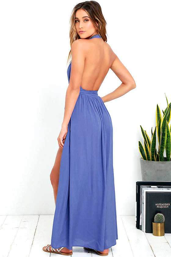 Magical Movement Periwinkle Blue Wrap Maxi Dress 3